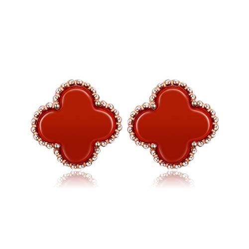 - Women Black Onyx 18K Gold Plated Four Clover Charm Stud Earrings/Leaf Clover Stud Earrings,925 Sterling Silver 4 Color Flower Shape Fashion Stud Earrings (Red-rose gold)