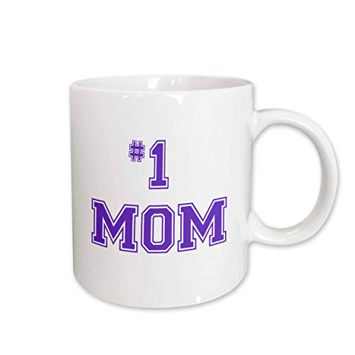 3dRose Number One Mom in Purple Text for Worlds Greatest and Best, Mothers Day, Ceramic Mug, 11-Oz
