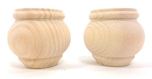 "Moreland Bun Foot (Set of 2) - 3"" Tall x 3 3/8"" Diameter (Pine)"