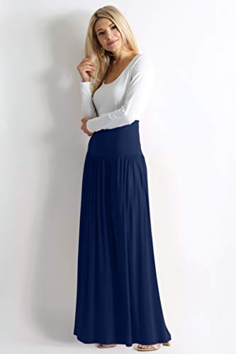 Navy Blue Skirts for Women Reg and Plus Size Long Skirt Navy Blue Maxi Skirt Ankle Length Skirt Casual Maxi Skirt Womens Maternity Skirt (Size XX-Large US 14-16, Navy Ankle-Length)