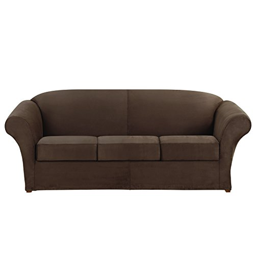 Sure Fit Ultimate Heavyweight Stretch Suede 3-Piece Sofa Slipcover with Toggles, Dark Chocolate