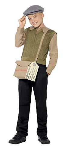 Smiffys Children's  Evacuee Boy Kit, Jumper with Attached Shirt, Hat, Bag and Tag, Ages 10-12, Size: Large, Color: Green,44066 -