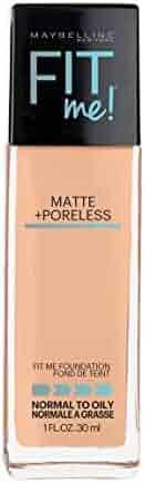 Maybelline Makeup Fit Me Matte + Poreless Liquid Foundation Makeup, Pure Beige Shade, 1 fl oz