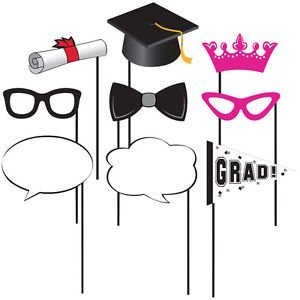 [Graduation Photo Props Party Supplies 10 pc] (Masquerade Masks Near Me)