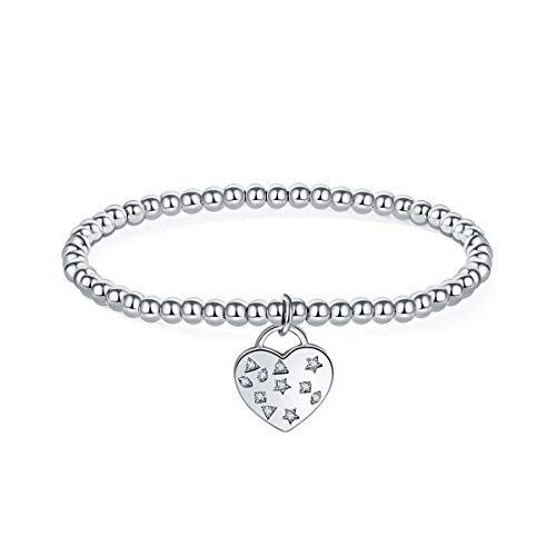 MILATU Heart Bracelet 3A Cubic Zirconia Paved,Platinum-Plated Stretch Chain Bracelet, Jewelry Gifts for Women Girls ()
