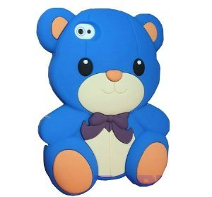 HJX Blue Iphone 5 Cute 3D Big Teddy Bear Hybrid Silicone case cover for Apple Iphone 5 & 5G + Gift 1pcs Insect Mosquito Repellent Wrist Bands bracelet