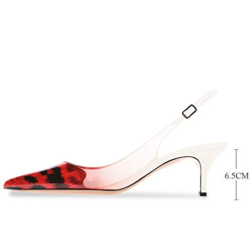 Fericzot Women's Kitten Heels Pumps Pointy Toe Slingback Sandals Ankle Strap Evening Party Wedding Stiletto Shoes Leopard Red Patent 6M