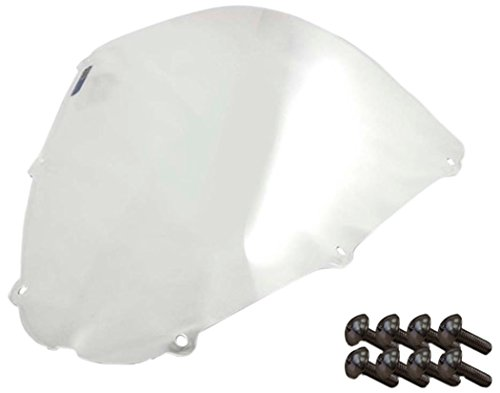 Sportbike Windscreens ADKW-405C Clear Windscreen (Kawasaki Zx 636 (05-06), Zx 10 (06-07) & Zx6R (07-08) With Silver screw kit),2 Pack