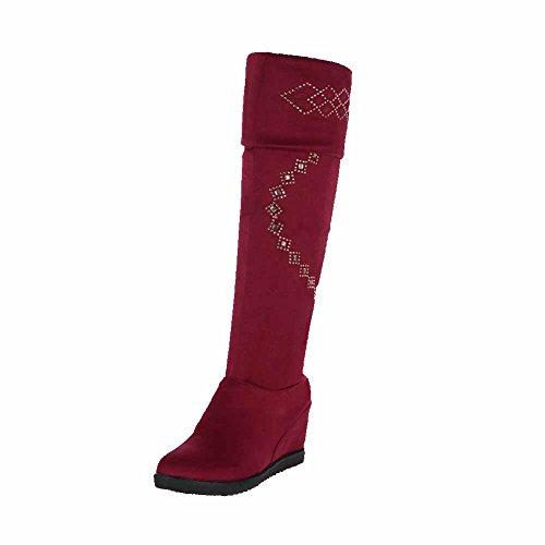 VogueZone009 Damen Wedges Rein Rund Zehe Ziehen auf Stiefel mit Beschlagene Strass Weinrot