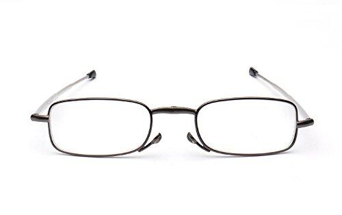 Men Women Small Compact Folding Foldable Pocket Readers Eye Glasses Unisex Portable Presbyopic Reading Glasses Eyewear in Black Handy Flip Top Case (4.00, Gunmetal)