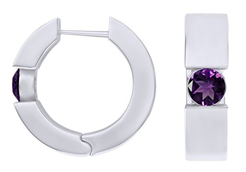 Round Cut Simulated Amethyst Huggie Hoop Earrings In 14k White Gold Over Sterling Silver