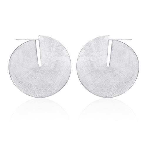 HUIMEI 14K Gold Plated Brushed Finished Disk Earrings - Brushed Silver Disc