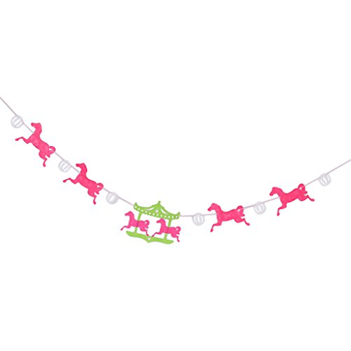 (Dolity Cartoon Carousel Fabric Banner Wedding Birthday Garland Hanging Bunting)