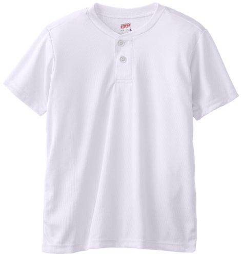 - Soffe Big Boys' Dri Fit Baseball Henley, White, Large