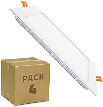 LEDKIA LIGHTING Pack Placa LED Cuadrada SuperSlim 18W (4 un) Blanco Neutro 4000K - 4500K: Amazon.es: Iluminación