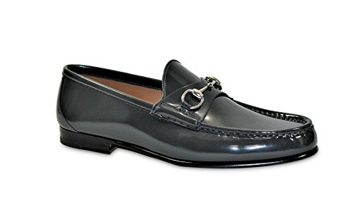 Gucci-Mens-Dark-Gray-Bushed-Leather-Horsebit-Loafers-Shoes