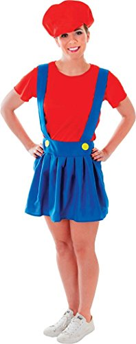 Women Fancy Party Dress Video Game Super Mario Plumber Lady Costume (Super Mario Costume Uk)