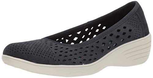 Skechers Women's KISS-Shifty-Laser Cut Skimmer Ballet Flat, Navy, 6.5 M -