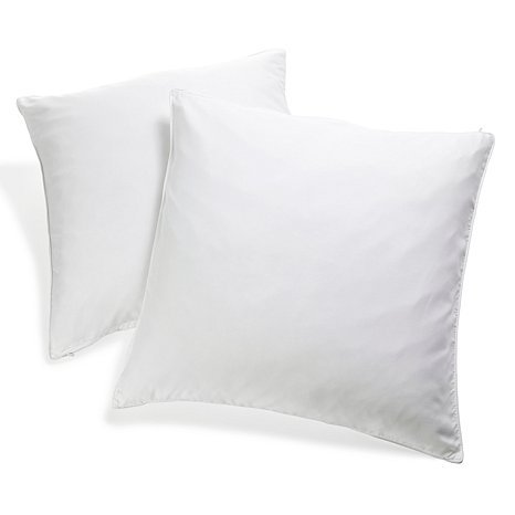 100% Cotton Cover Highest Quality, Feather & Down Pillow, Best use for Decorative Pillows & for Firm Sleepers, Dust Mite Resistant (not polyester filled) Square Size 24x24 Set of 2 ()