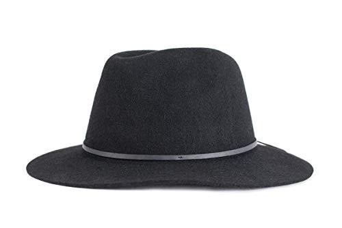 Brixton Men's Wesley Medium Brim Felt Fedora Hat, black, Medium