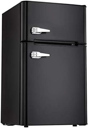 Tavata 3.2 Cu Compact Refrigerator Double Door Mini Fridge with Top Door Freezer,Small Drink Chiller for Home, Office,Dorm or RV Black
