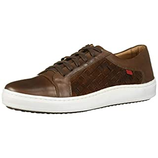 MARC JOSEPH NEW YORK Men's Leather Made in Brazil Luxury Lace-up Detail Fashion Sneaker, Cognac Suede/Weave, 8 M US