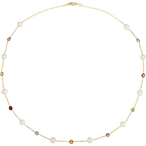 Bonyak Jewelry Amethyst & Citrine & Garnet 14k Yellow Gold Freshwater Cultured Pearl & Multi-Gemstone 18
