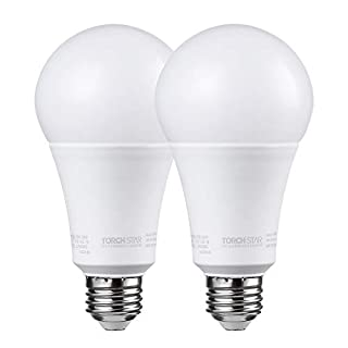 TORCHSTAR A21 Dimmable LED Bulb, CRI 90+, 17W (100W Equivalent), 1600 Lumens, 5000K Daylight, E26 Medium Base, UL & Energy Star, Pack of 2