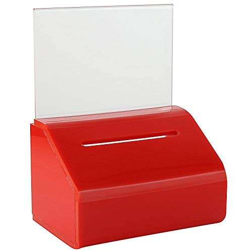 MCB Acrylic Donation & Ballot Box, Ticket Raffles & Drawing, Voting or Comment Box - with Safety Lock and Display Sign Holder 8