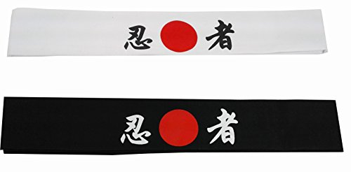 Sunrise Kitchen Supply Cotton Tie on Headband (1 White + 1 Back) for Sports/Exercise/Cooking (Ninja) ()