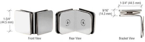 (C.R. LAURENCE GCB690CH CRL Chrome 90 Degree Junior Traditional Style Glass Clamp for 1/4