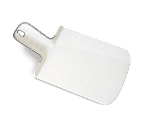 Joseph Joseph 60053 Chop2Pot Foldable Plastic Cutting Board 12.5-inch x 6.5-inch Chopping Board Kitchen Prep Mat with Non-Slip Feet 3.5-inch Handle Dishwasher Safe Lays Flat Folds Up, Mini, White