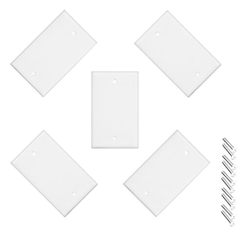 iMBAPrice Blank Wall Plate Outlet Cover for Thermoset/Box Mount/Wall Outlet/Light Switch and More - White (Pack of 5)