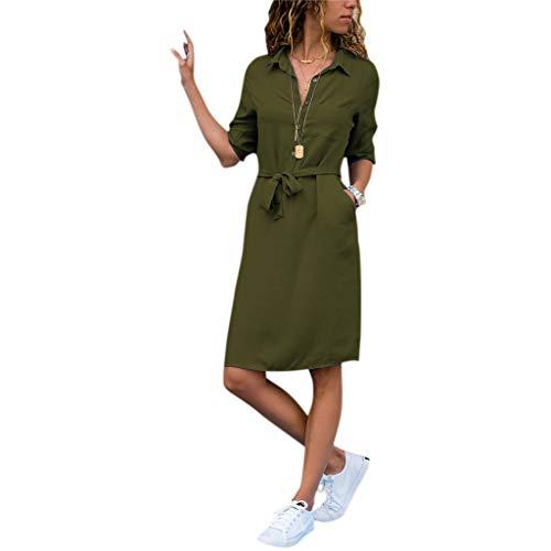 Manga Ejercito Camisa Botón Office Color Otoño Mujeres Slim Solapa M Collar Vestir Verde Sólido Junlinto Navy Media De nxXatFw