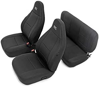 Terrific Rough Country 91000 Black Neoprene Seat Cover Front Rear For 97 02 Jeep Wrangler Tj 4Wd Renewed Dailytribune Chair Design For Home Dailytribuneorg