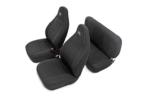 Rough Country 91000 Black Neoprene Seat Cover (Front/Rear) for 97-02 Jeep Wrangler TJ 4WD (Renewed)