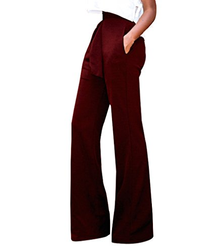 GUOLEZEEV Women Long Pants Elegant Bandage High Waisted Flare Palazzo Trousers Wine Red L