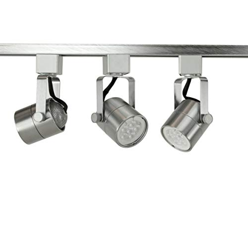 Fixtures System Lighting Light - Direct-Lighting Brand H System 3-Lights GU10 7.5W LED (500 lumens Each) Track Lighting Kit 3000K Warm White Bulbs Included HT-50154L-330K-BS (Brushed Steel)