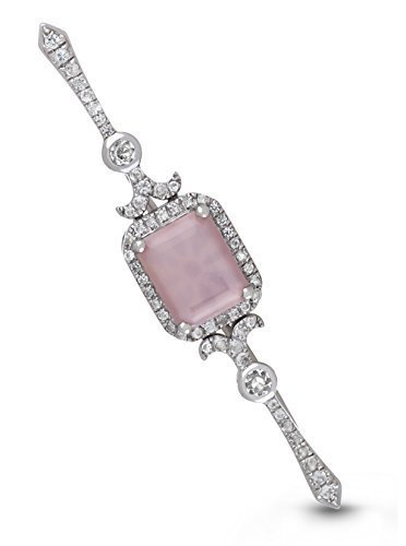 Sterling Silver Pink Mother of Pearl White Topaz Locket Bridal Bouquet Pin Betty by With You Lockets by With You Lockets (Image #4)