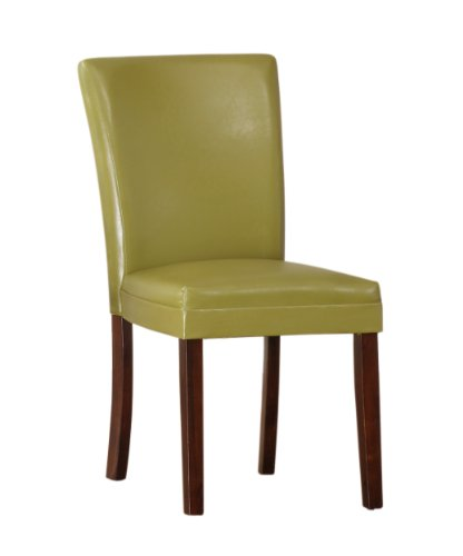 Homelegance 3276YS Bi-Cast Vinyl Parson Dining Chair (Set of 2), Chartreuse Yellow