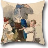 Fendi Zebra - Oil Painting Peter Fendi - Children On Their Way To Work In The Fields, 1840 Pillow Covers 16 X 16 Inches / 40 By 40 Cm Gift Or Decor For Lover,kitchen,her,bar Seat,outdoor,dance Room - Double Sides