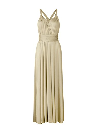 Clothink Convertible Multi Way Wrap Bandage Bridesmaid Dresses Champagne
