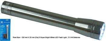 LED flashlight, 5 Super Bright LED bulbs, batteries Included, FL606