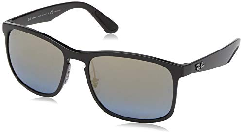 Ray-Ban Men's RB4264 Chromance Mirrored Square Sunglasses, Black/Polarized Blue Brown Gradient Mirror, 58 mm