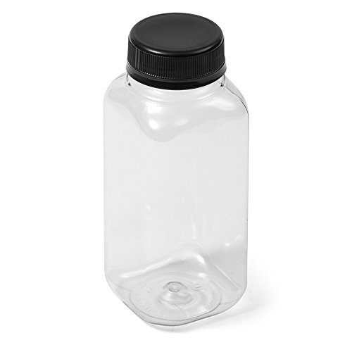(300) Clear Square IPEC PET Bottle - 8 fl oz - Black IPEC Cap - Case of 300
