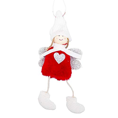 Clearance Sale!DEESEE(TM)Christmas Angel Plush Doll Toy Christmas Tree Pendants Ornaments Decoration Home (Red)