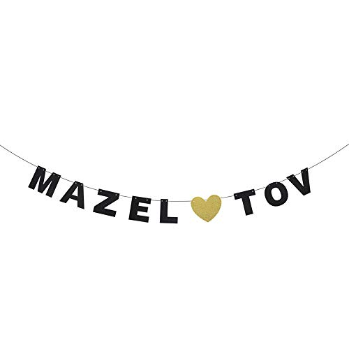 Mazel Tov Wedding Banner - Wedding Engaement - Jewish Bar Bat Mitzvah Congratulations Adult Ceremony - Cheers to Teenager Fabulous 13th Birthday Party Decoration -