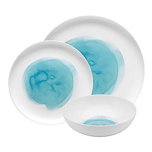 ECOLOGY ECS1245 Watercolour Aqua 12 Piece Dinner Set, Blue, ECS1245