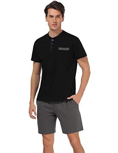 - Aibrou Men's Short Sleeves and Shorts Cotton Pajama Set Sleepwear Lounge Set Summer Black M