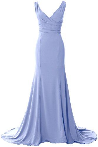 Dress Evening Formal Prom MACloth Mermaid Neck V Gown Elegant Blue Sky Jersey Simple nzqqY8HR